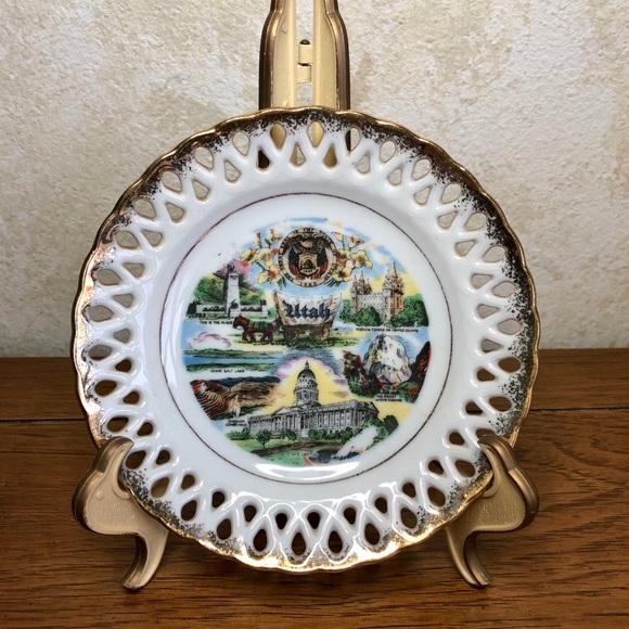 """Vintage 6"""" reticulated Utah souvenir plate"""